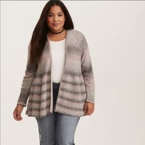 Torrid Ombré Stripe Open Front Cardigan Sweater 1X